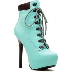 CiCiHot Mint Faux Nubuck Platform Hiker Booties ($20) ❤ liked on Polyvore featuring shoes, boots, ankle booties, heels, blue, booties, platform heel booties, heeled ankle boots, heeled booties and short boots