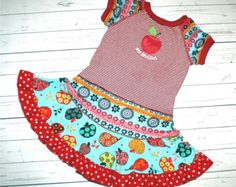 RED DELICIOUS super cool funky upcycled  pieced  dress or tunic size 2T