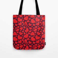 Heart Pattern 2 - Red Love Tote Bag by pixaroma Heart Patterns, Laptop Skin, Iphone Cases, Reusable Tote Bags, Mugs, Pillows, Red, Stuff To Buy, Shirts