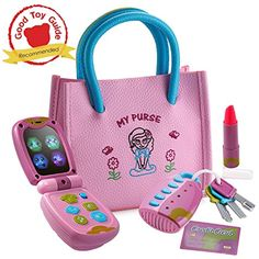 Playkidz My First Purse – Pretend Play Princess Set for Girls with Handbag, Flip Phone, Light Up Remote with Keys, Play Lipstick  #LearningEducation