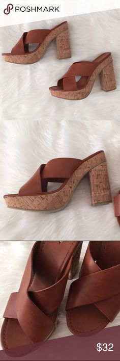 Express platform cognac and cork heels Has some very light scuffing on the leather. You have to look closely to see it. Never worn  Express Shoes Sandals