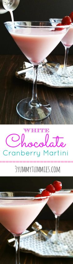 A dreamy pink dessert martini with White Chocolate Liqueur, Whipped Cream Vodka and Cranberry Juice.