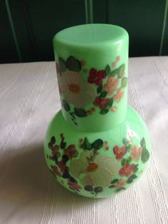Vintage Hand Painted Jadeite Green Bedside Water Carafe by VintageNona on Etsy