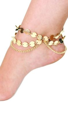 """""""SARA"""" LAYERED GOLD CHAIN ANKLET"""