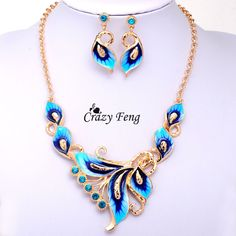 Women Austrian Crystal Enamel Jewelry Sets  Yellow Gold Plated  flower 4 Colors Jewelry Sets Chain Necklace Earrings sets