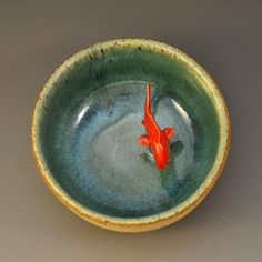 "My Koi Tea Bowl ""Green""...love this idea of a bowl with a creature in it"