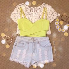 Yellow crossover crop top, lace over shirt, high waisted denim shorts