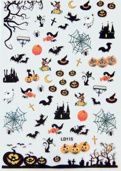 Halloween-3D-Mixed-Designs-Decal-Stickers-Nail-Art-Tips-Pumpkins-Skull-Ghost-Bat