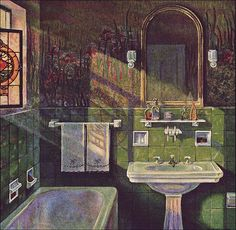 1925 Fairfacts Vintage Bathroom - Green Tile I love the advertising illustrations of the Fairfacts isn't a household name now, but it was one of many mid- to upper-end plumbing fixture companies that proliferated during the Who can argue w 1930s Bathroom, Art Deco Bathroom, Vintage Bathrooms, Bathroom Green, Design Bathroom, Bathroom Interior, Vintage Interiors, The Sims, Beautiful Homes