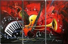 Abstract Art Red Abstract Painting Bedroom Wall Art Violin Horn G Paintingforhome Guitar Painting, Hand Painting Art, Large Painting, Online Painting, Painting Canvas, Paintings Online, Music Painting, Canvas Paintings For Sale, Modern Art Paintings