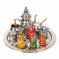 Moroccan Tea Set Large Teapot 6 Pink Tea Glasses Free PP Large Serving Tray