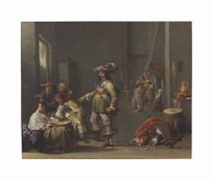 Jacob Duck (Utrecht? c. 1600-1667)  A guardroom interior with soldiers and peasants smoking, drinking and playing cards