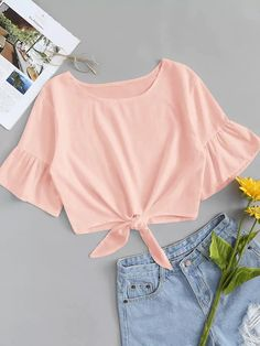 Flounce Sleeve Knot Hem Solid Top - Source by Official_Romwe - Girls Fashion Clothes, Teen Fashion Outfits, Outfits For Teens, Girl Fashion, Teen Clothing, Cute Summer Outfits, Cute Casual Outfits, Pretty Outfits, Stylish Outfits