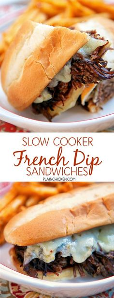 Slow Cooker French Dip Sandwiches - slow cook chuck roast in a mixture of soy sauce, beef broth, onion, garlic, rosemary, thyme and pepper. Serve on toast buns with melted pepper jack cheese. These sandwiches are SO good! I think they are the PERFECT French Dip Sandwiches!