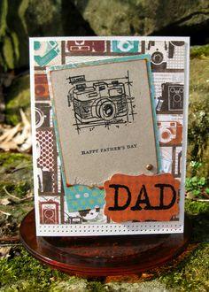 Awesome fathers day card. Tim Holtz rubber stamps, paired with Bo-Bunny Mamma-Razzi papers.