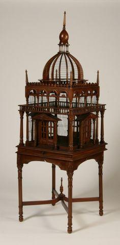 Decorative mahogany birdcage