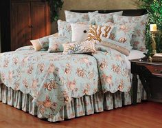 Head to Bella Coastal Decor now and explore our great assortment of nautical quilts, for example this Under the Sea Quilt Bedding Collection! Palm Tree Bedding, Tropical Bedding, Beach Bedding Sets, Comforter Sets, Sea Bedrooms, Coastal Bedrooms, King Quilt Sets, Linens And More, Quilt Bedding