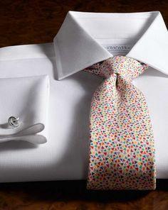 Slim fit semi-cutaway collar Regency weave white men's formal shirt. Egyptian cotton. Handmade tie.