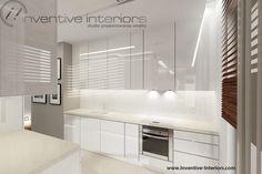 Projekt kuchni Inventive Interiors - biała kuchnia z akcentem beżu