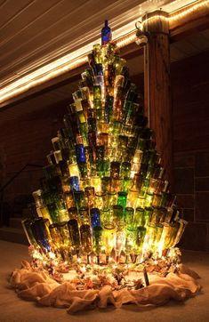 12 Christmas Tree Decoration Ideas From Simple to Creative Ways « Garten Wine Tree, Wine Bottle Trees, Wine Bottle Art, Wine Bottle Crafts, Creative Christmas Trees, Christmas Tree Decorations, Christmas Ornaments, Christmas Tree Stand Diy, Christmas Tree Design