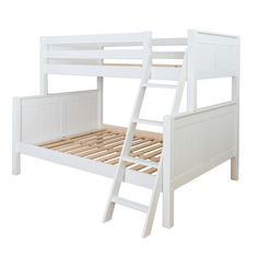 The sturdy white twin over full bunk bed is both detachable and durable. This kids bunk bed with stairs is made of wood and finished in white, making it the perfect kids furniture item for both boys and girls bedroom design.