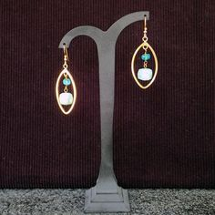 Goldplated Sterling Silver Marquise hoops with cubes of Amazonite Dangle earrings. Statement, gemstone, handmade, for her, green colour,gold by Menir on Etsy