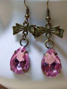 Bow Earrings Pink Drop Earrings Brass Bow by NickiLynnJewelry