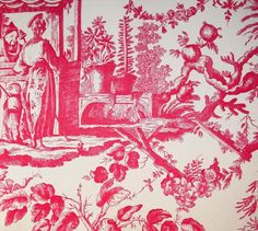 Rococo Toile Wallpaper Large scale chinese toile de jouy wallpaper in red on cream