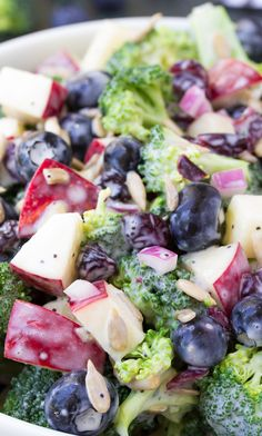No Mayo Broccoli Salad with Blueberries and Apple. This is seriously THE BEST broccoli salad with a creamy Greek yogurt poppy seed dressing! kristineskitchenblog.com