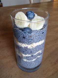 Chia Parfait 4-5 Tablespoons of Chia seeds 1 to 1/2 cups almond milk 1/2 teaspoon cinnamon 1 teaspoon vanilla 1/2 cup whole rolled oats 1 cup blueberries (or other fruit of choice) 1/2 cup walnuts (or other nut of choice) a few slices of banana