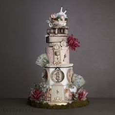 Alice in wonderland themed wedding cake.
