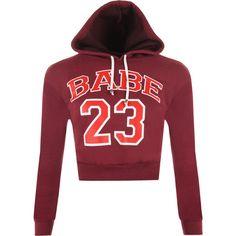 Kagami Babe 23 Cropped Hoodie ($19) ❤ liked on Polyvore featuring tops, hoodies, wine, red hoodie, hooded sweatshirt, print hoodie, print crop top and red hoodies
