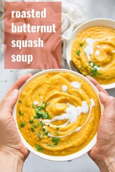 Silky smooth spiced and perfectly sweet butternut squash soup! This creamy flavor-packed soup is healthy easy to make and oh so comforting. Naturally vegan and gluten-free and perfect for lunch or dinner! Vegan Dinner Recipes, Vegan Dinners, Raw Food Recipes, Soup Recipes, Vegetarian Recipes, Cooking Recipes, Chili Recipes, Recipies, Best Butternut Squash Soup