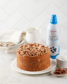 Are you a coffee lover? We're sending a whole latte love your way with this sour cream coffee cake. Use Gay Lea Real Whipped Cream Light to add a fluffy, velvety topping to this sweet treat, or to any dessert of your choosing! 😋 Sour Cream Coffee Cake, Whipped Cream, Tiramisu, Latte, Sweet Treats, Gay, Favorite Recipes, Ethnic Recipes, Desserts