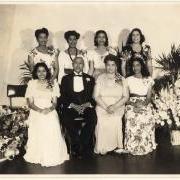 40th Wedding Anniversary of John and Irene Dobbs, June 1946, Their six daughters are the largest sister set to graduate from Spelman College: Irene Dobbs Jackson, class of '29; Juliet Dobbs Blackburn, class of '31; Millicent Dobbs Jordan, class of '33; Josephine Dobbs Clement, class of '37; Mattiwilda Dobbs Janzon, class of '46; June Dobbs Butts, class of '48.