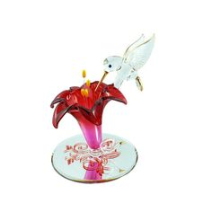 Glass Baron Hummingbird With Red Lily Figurine 22 Karat Gold & Swarovski Crystal Glass Baron, Red Lily, Red Flowers, Hummingbird, Swarovski Crystals, Gold, Vintage, Ebay, Hummingbirds
