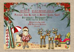 hawaiian christmas party invitation santa by LisaMariesPaperie Free Printable Party Invitations, Christmas Party Invitations, Invitation Ideas, Invitation Templates, Wedding Invitation, Christmas Party Themes, Xmas Party, Holiday Ideas, Christmas Ideas