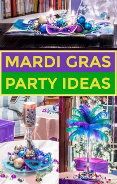 Mardi Gras Party Theme, Mardi Gras Hats, Mardi Gras Food, Mardi Gras Costumes, Carnival Party Decorations, Mardi Gras Decorations, Table Decorations, Graduation Party Themes, Birthday Party For Teens