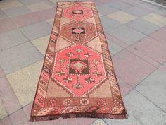 VINTAGE Turkish Old Kars Kazak Carpet Runner by LittleCatRug