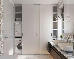 Modern Sliding Doors - December 01 2018 at Bathroom Linen Cabinet, Laundry Room Bathroom, Laundry Closet, Bathroom Storage, Small Bathroom, Bath Room, Bathroom Shelves, Horse Bathroom, Hidden Laundry