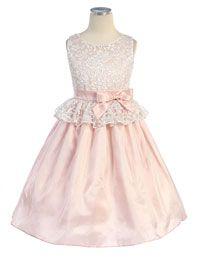 Flower Girl Dresses -   Girls Dress Style 426- Lace Peplum and Taffeta Dress
