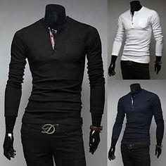 70bcc6ce Men's New Style Fashion Slim V-Neck Long Sleeve T-Shirt Polo Tees,