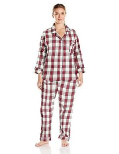 d1ae4a1825 BedHead Pajamas Womens Plus Size Long Sleeve Classic Flannel Pajama Set Red  Winter Plaid 2X Plus