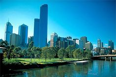Melbourne Cityscape- as seen from one of the many riverside parks. Places In Melbourne, Melbourne House, Melbourne Skyline, Melbourne Races, Melbourne Weather, Melbourne Australia, Australia Travel, Places Around The World, Around The Worlds