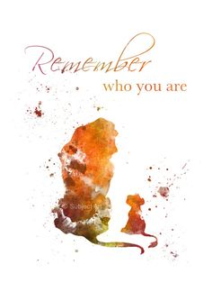 ART PRINT The Lion King Quote 'Remember who you are' illustration, Disney, Simba, Mufasa, Home Decor, Wall Art, Nursery, Childrens Art