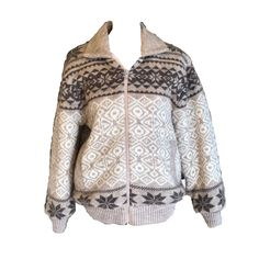 110795e6 Vtg Wool Sherpa Jacket Sweater winter knit cream brown collared lined Mens  'sdium Womens XL banded snowflake fuzzy furry soft sale icelandic