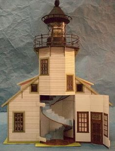 Point Cabrillo Lighthouse Dollhouse Paper Model - FURNISHED  There is a price of $2.50 on this model - I have pinned it because the price is so low and the item is an exceptional value. r