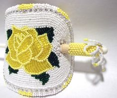 Yellow Rose Beaded Barrette with Bone Stick