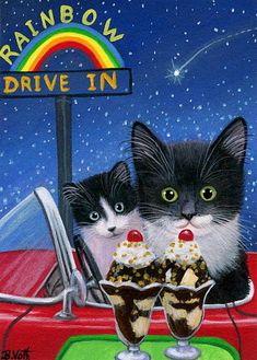 Tuxedo kitten cat hot fudge sundaes rainbow drive in original aceo painting art #Miniature