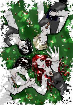 Sirius, James, Lily, and Remus